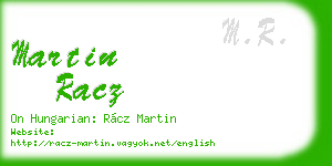 martin racz business card